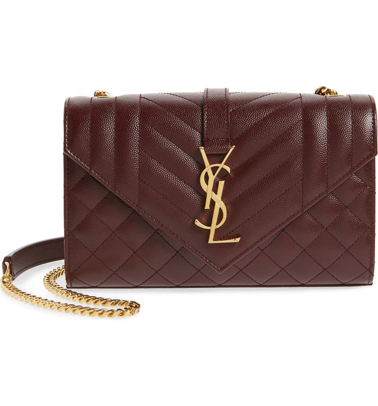 SAINT LAURENT Small Envelope Leather Shoulder Bag, Main, color, ROUGE LEGION