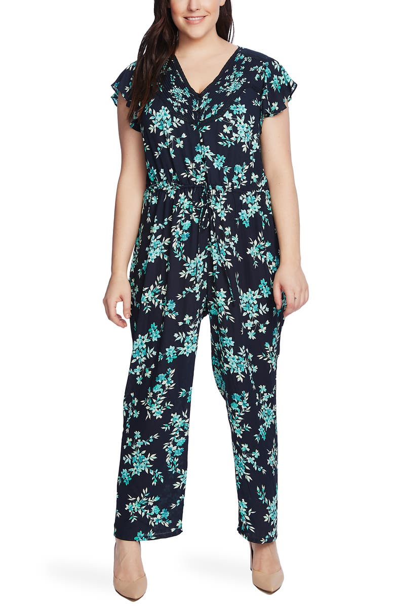 CECE Breezy Boutique Flutter Sleeve Jumpsuit, Main, color, NIGHT SHADE