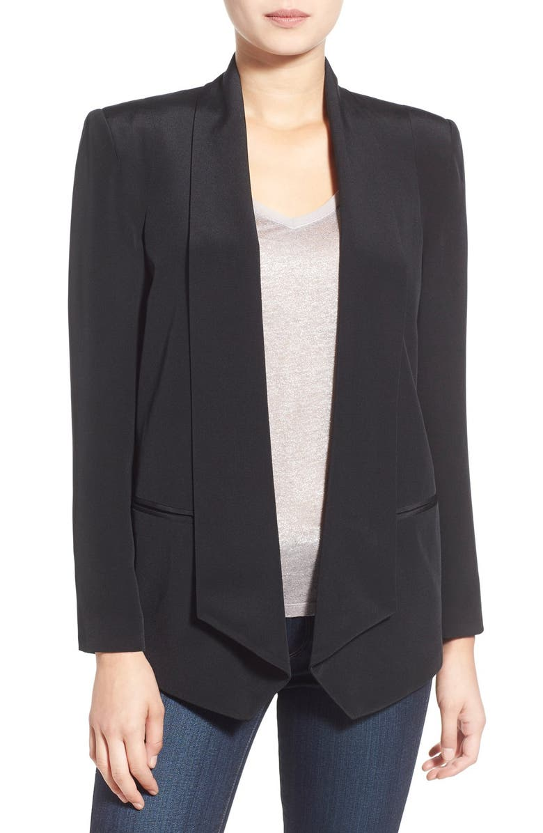 REBECCA MINKOFF 'Becky' Long Silk Jacket, Main, color, 001