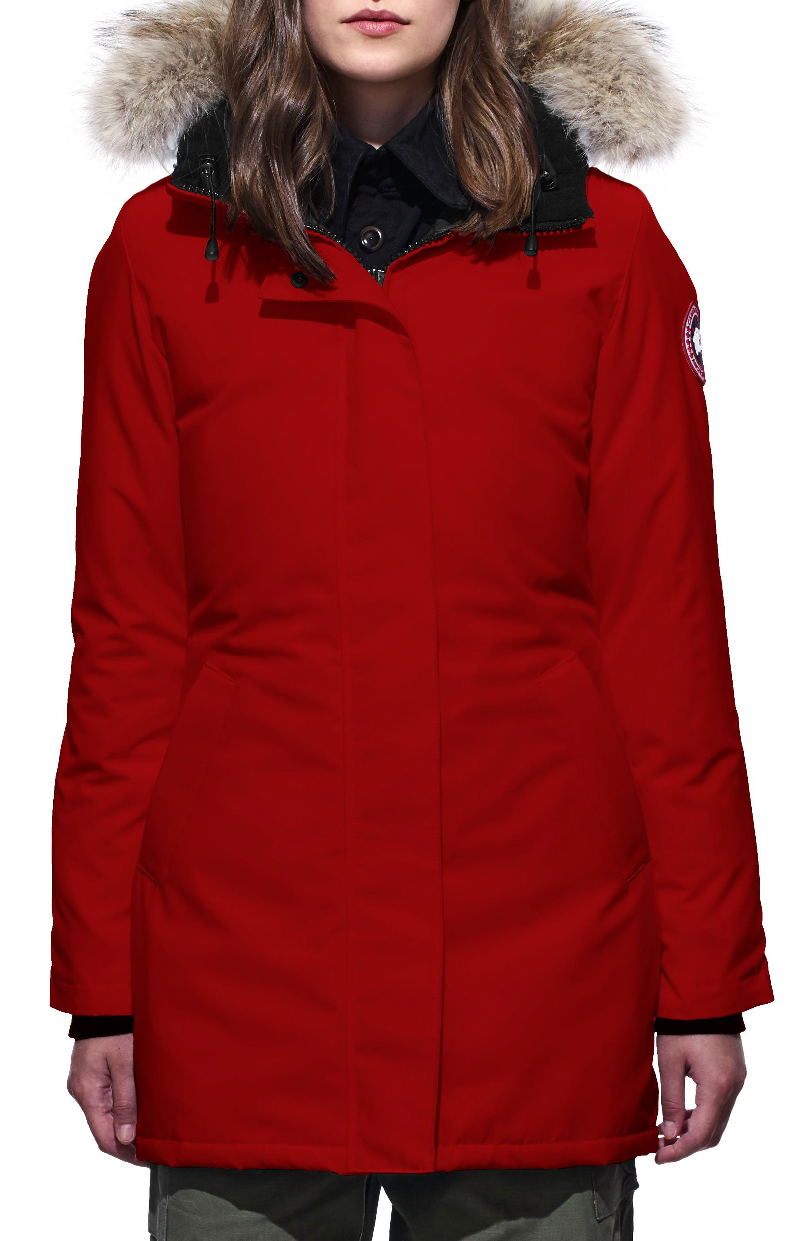 Canada Goose Victoria Down Parka With Genuine Coyote Fur Trim, (10-12) - Red