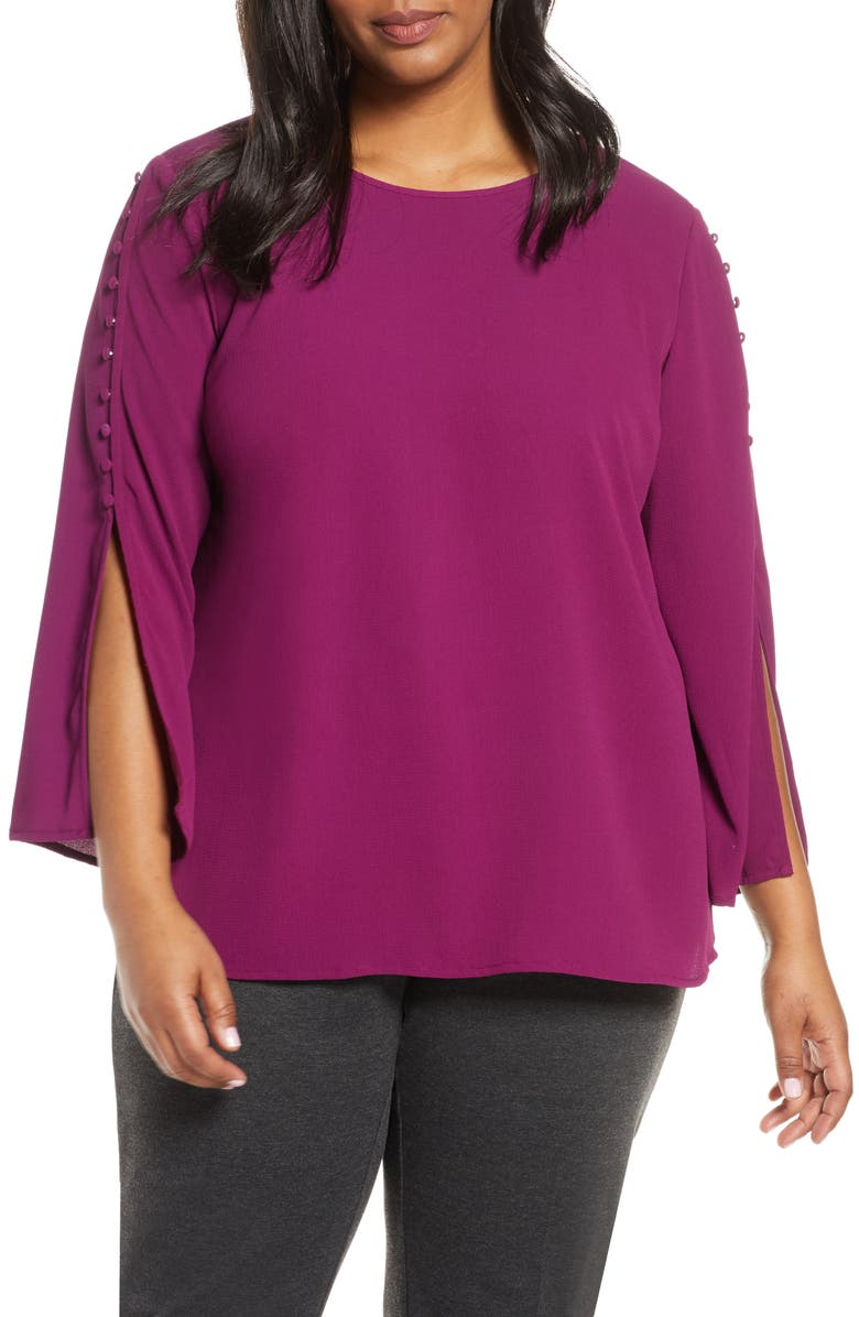VINCE CAMUTO Button Split Sleeve Top, Main, color, PLUM NOIR