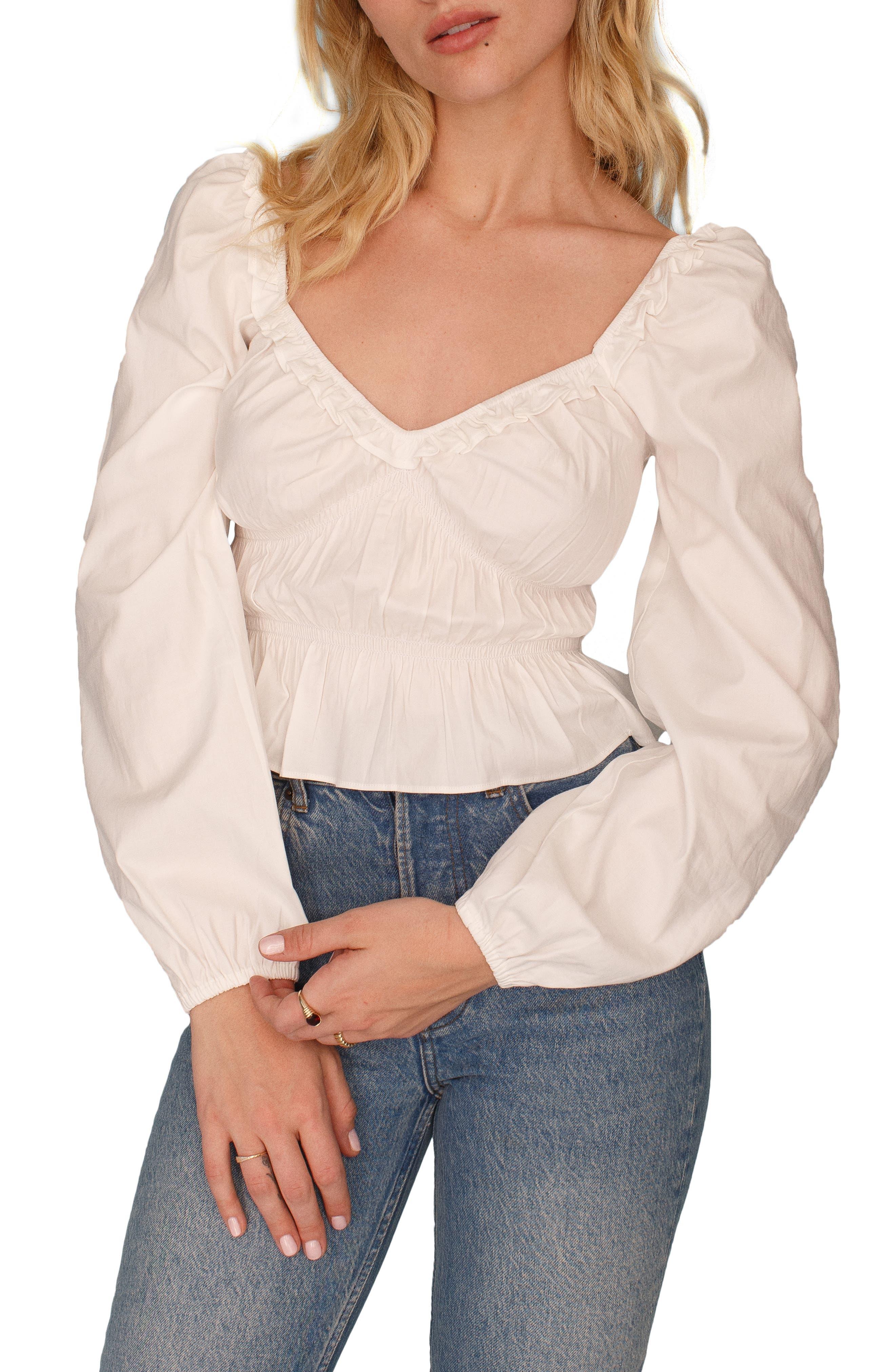 Black Silk Rib Knit Short Sleeve Top With Ivory Cotton Ruffle M