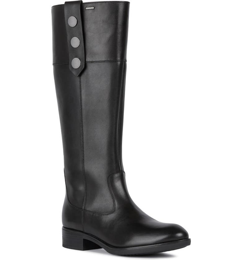 GEOX Felicity ABX Waterproof Boot, Main, color, BLACK NAPA LEATHER