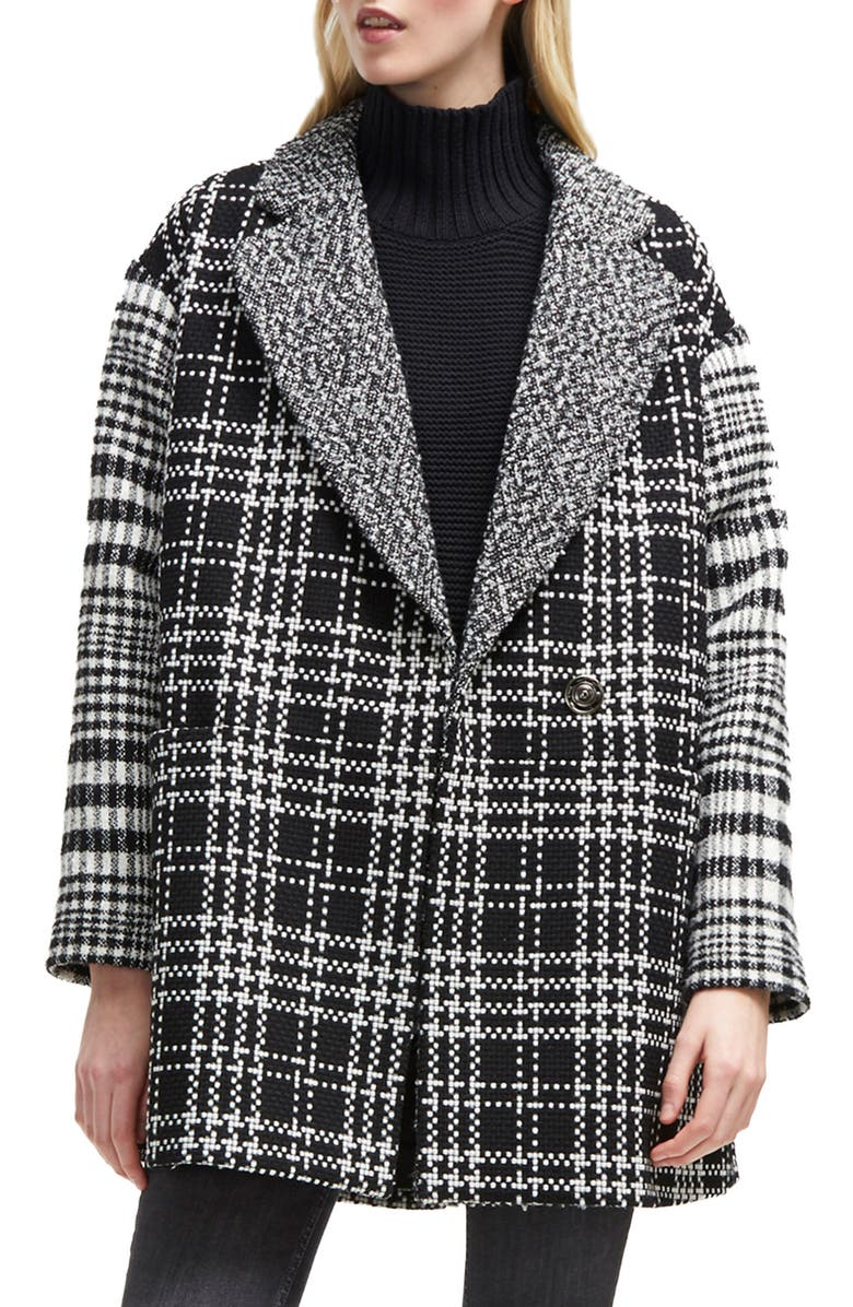 FRENCH CONNECTION Belinda Mix Check Coat, Main, color, BLACK/ WHITE