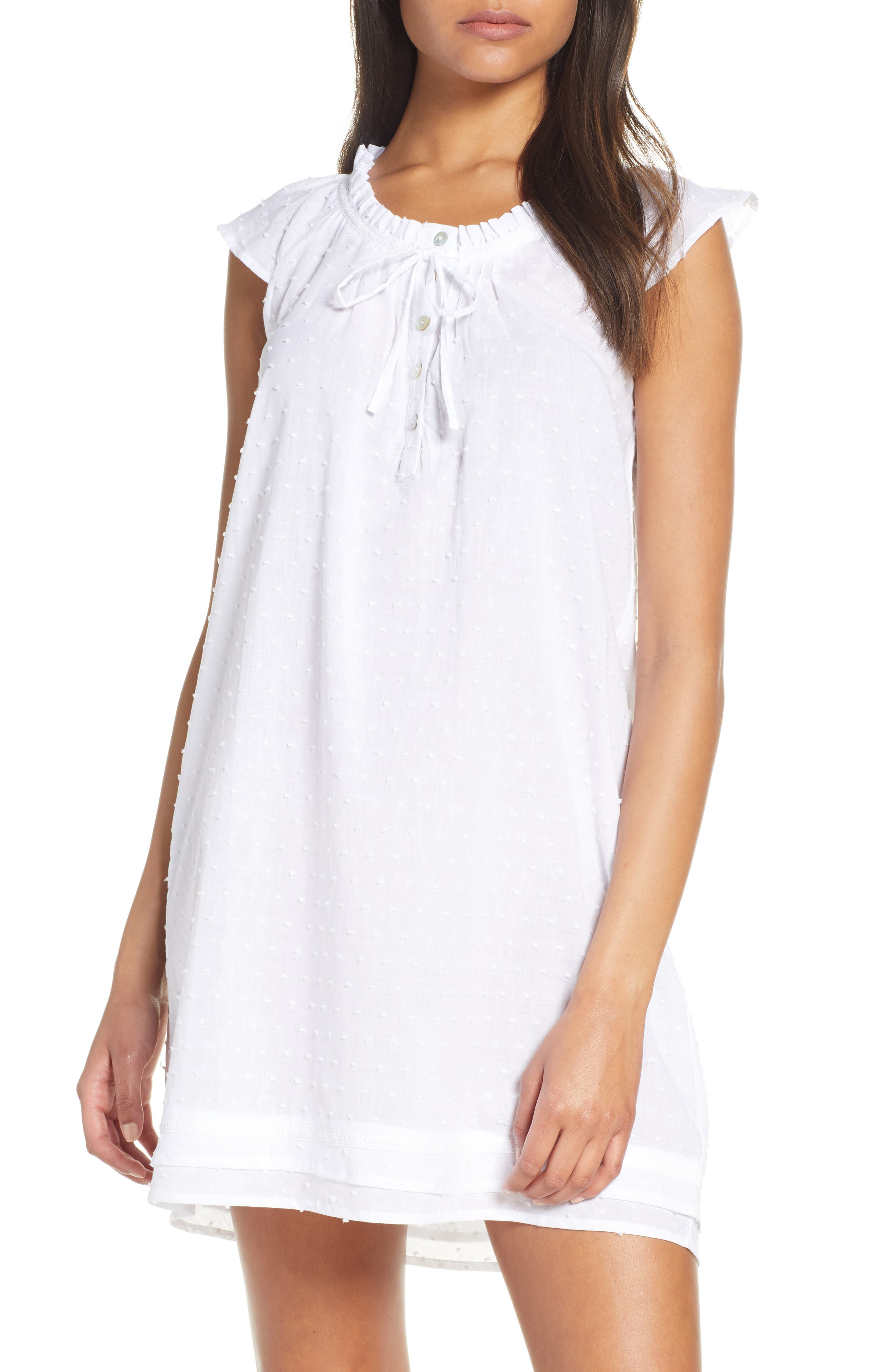 Papinelle Swiss Dot Flutter Nightgown, White