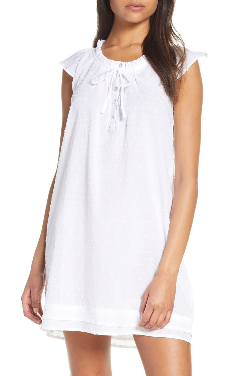 PAPINELLE Swiss Dot Flutter Nightgown, Main, color, WHITE