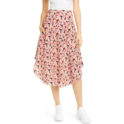 Stella Mccartney Floral Round Hem Silk Midi Skirt, US / 40 IT - Pink