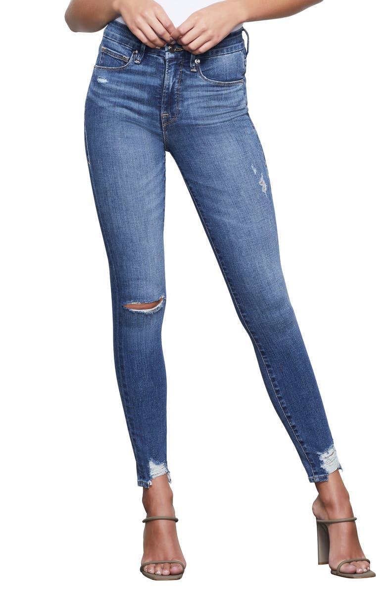 GOOD AMERICAN Good Waist High Waist Chewed Hem Skinny Jeans, Main, color, BLUE349