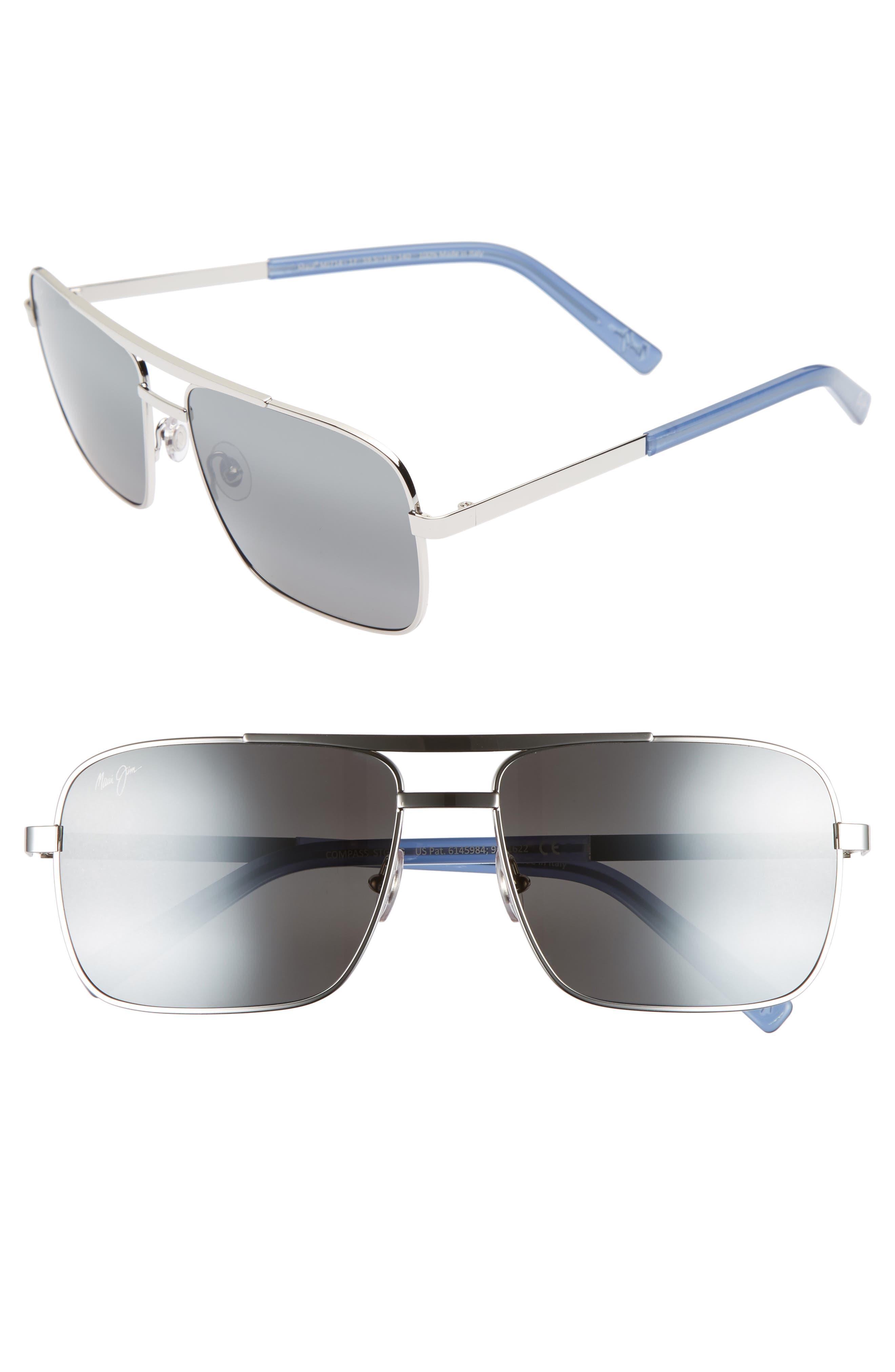 Maui Jim Compass 60Mm Polarized Aviator Sunglasses -