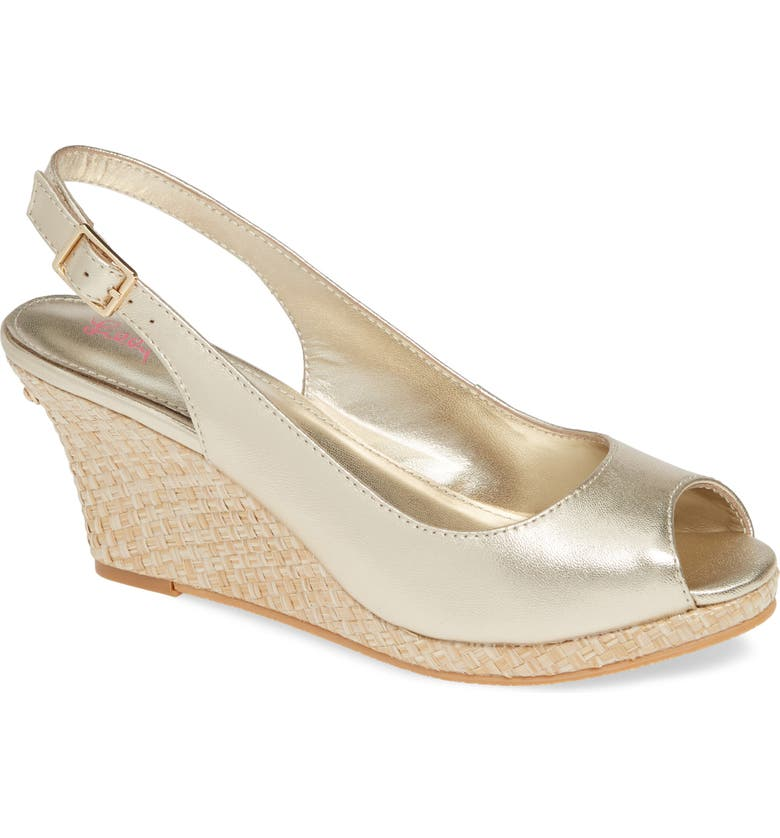 LILLY PULITZER<SUP>®</SUP> Gigi Slingback Wedge Sandal, Main, color, GOLD METALLIC