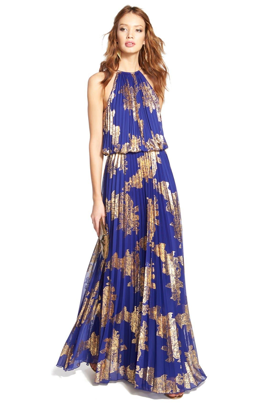 ,                             Foiled Pleated Jersey Blouson Dress,                             Alternate thumbnail 10, color,                             406