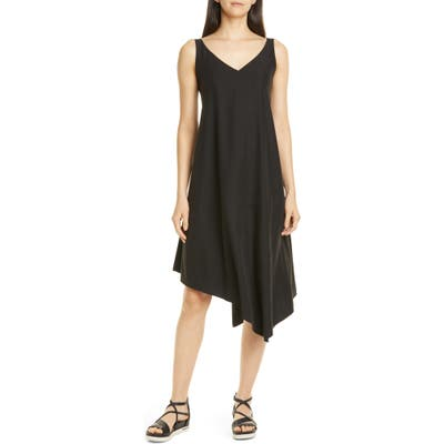 Petite Eileen Fisher Asymmetrical Shift Dress, Black