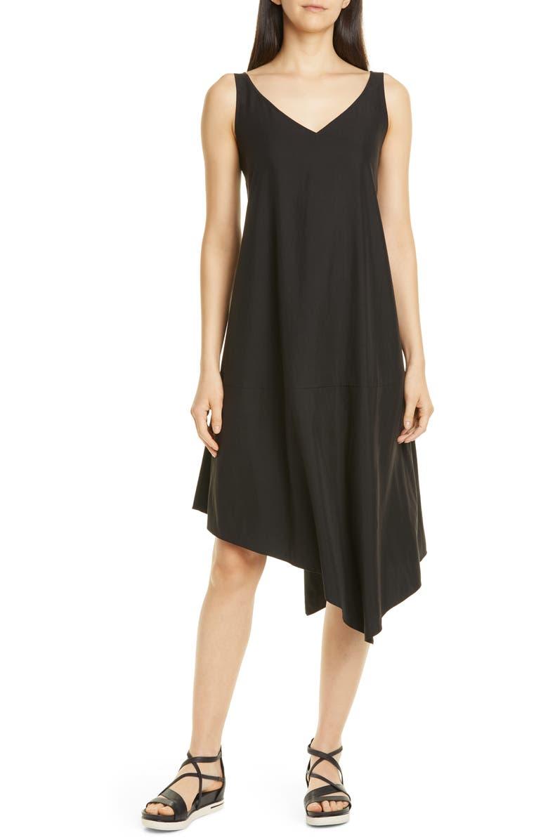 EILEEN FISHER Asymmetrical Shift Dress, Main, color, BLACK