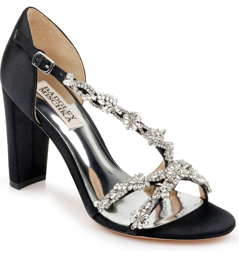 BADGLEY MISCHKA COLLECTION Badgley Mischka Omega Crystal Embellished Sandal, Main, color, BLACK SATIN