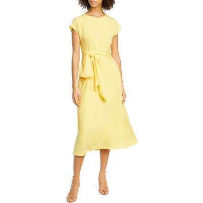 Boss Dacari Tie Front Midi Dress, Yellow