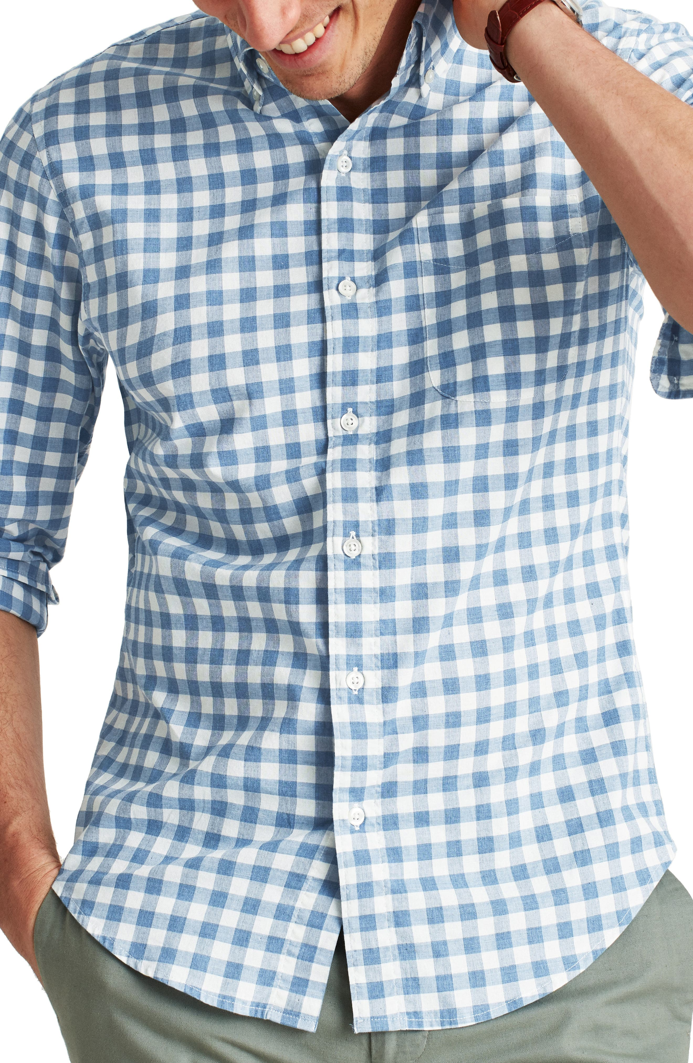 Slim Fit Check Washed Stretch Cotton Button-Down Shirt