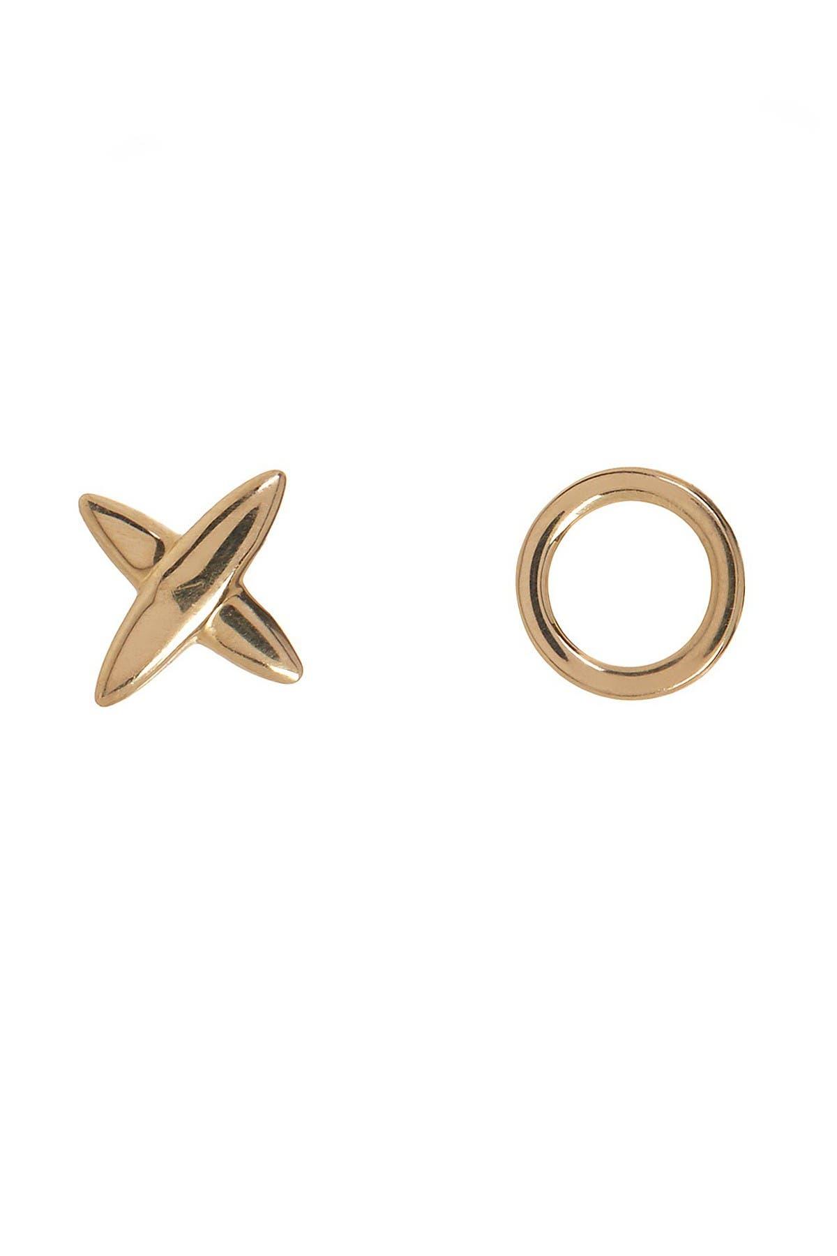 """Image of Candela 14K Yellow Gold """"XO"""" Mismatched Stud Earrings Set"""