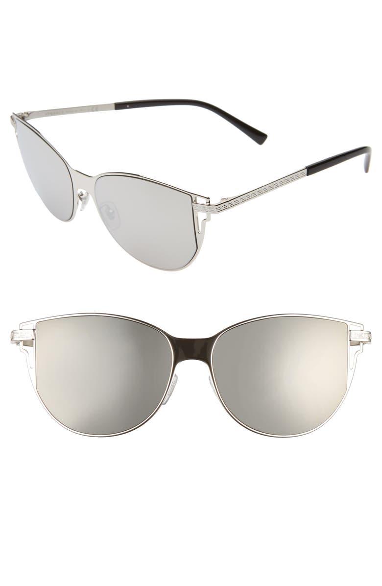 VERSACE 56mm Cat Eye Sunglasses, Main, color, SILVER/ SILVER MIRROR