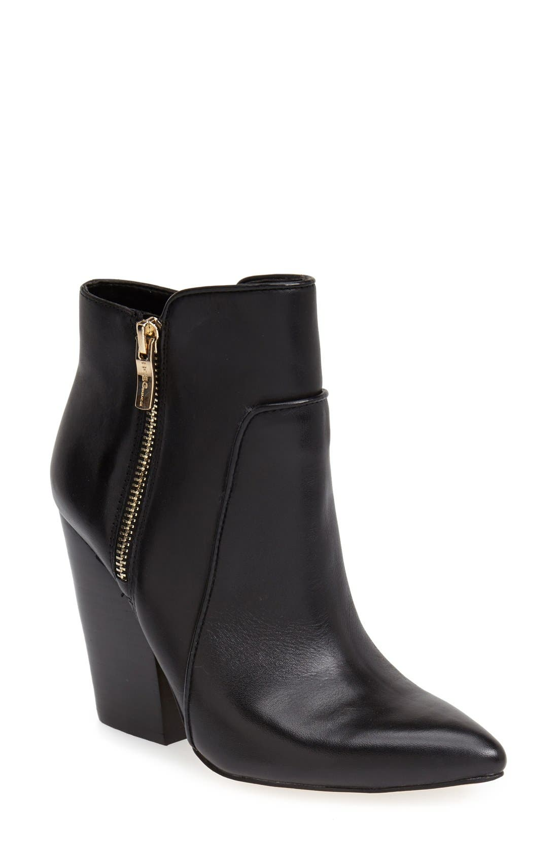'Jules' Pointy Toe Leather Bootie, Main, color, 002