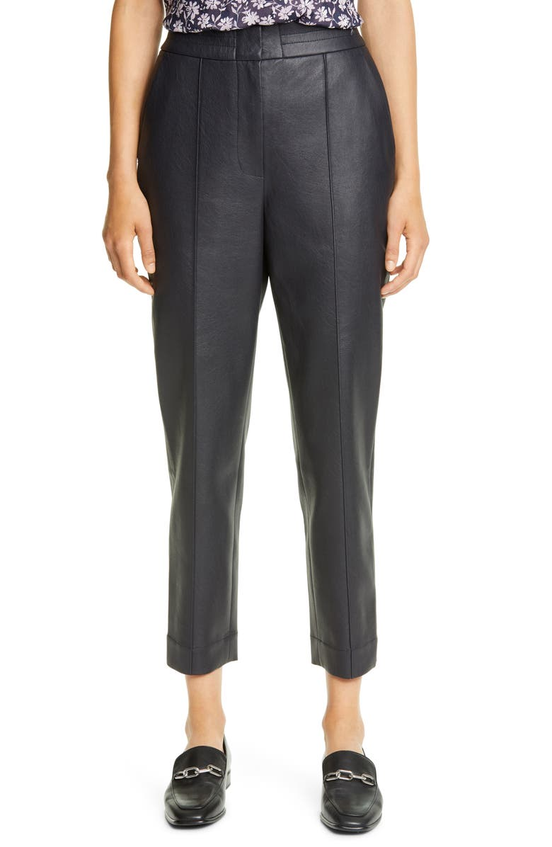 REBECCA TAYLOR Faux Leather Pants, Main, color, NAVY