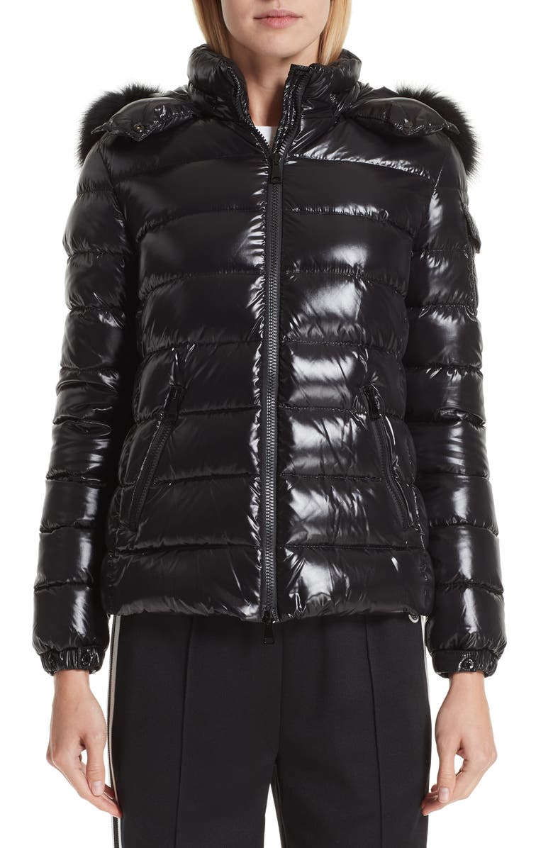 MONCLER Badyfur Down Puffer Jacket with Detachable Genuine Fox Fur Trim, Main, color, 001