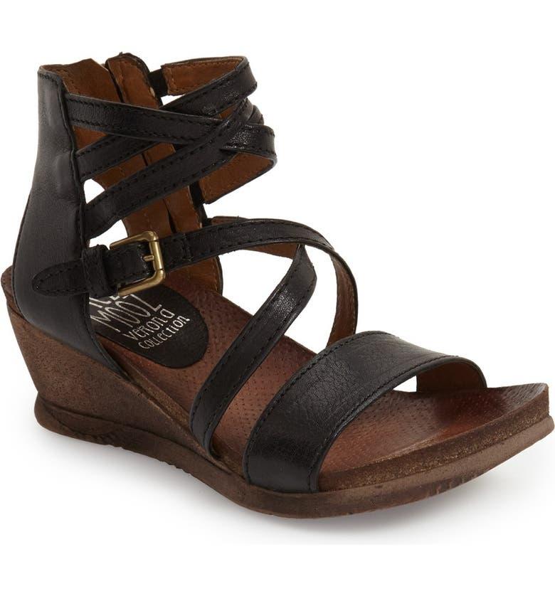 MIZ MOOZ 'Shay' Wedge Sandal, Main, color, BLACK LEATHER