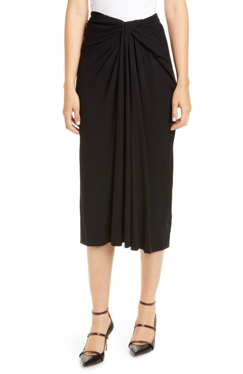 ROSETTA GETTY Twist Front Rib Jersey Midi Skirt, Main, color, BLACK