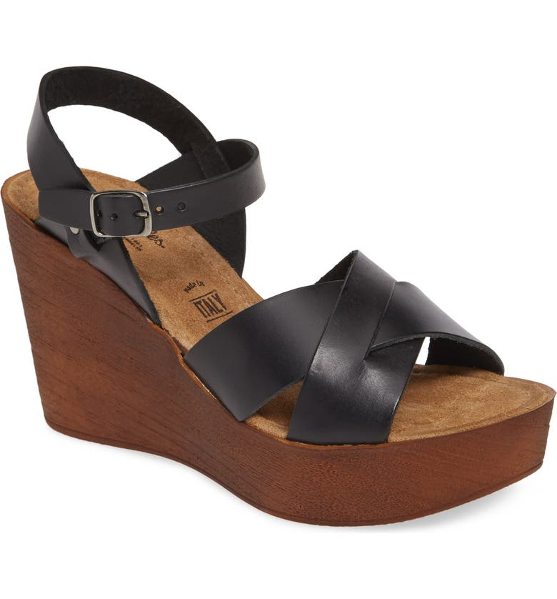 SEYCHELLES Provision Platform Wedge Sandal, Main, color, BLACK LEATHER