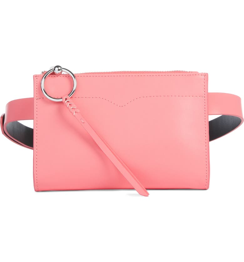 REBECCA MINKOFF Leather Belt Bag, Main, color, GRAPEFRUIT / POL NICKEL