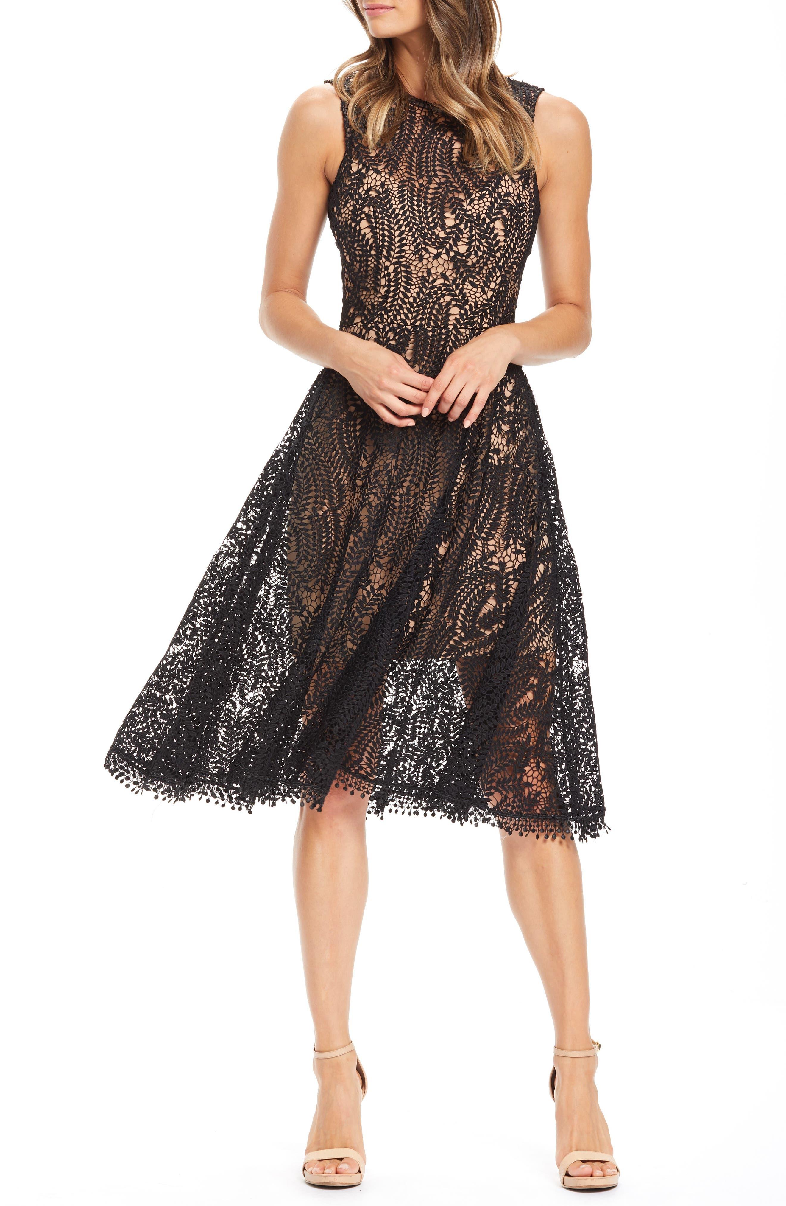 Dress The Population Shane High Neck Fit & Flare Dress, Black