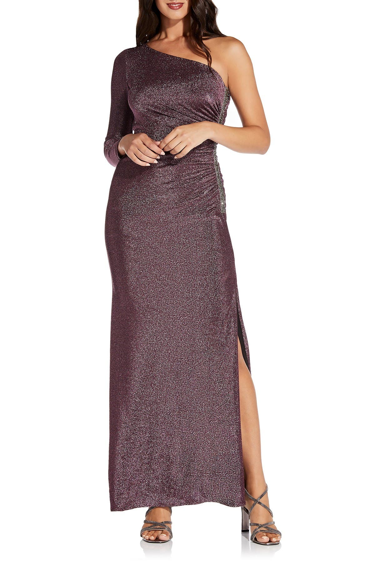 Image of Adrianna Papell Metallic One-Shoulder Dress