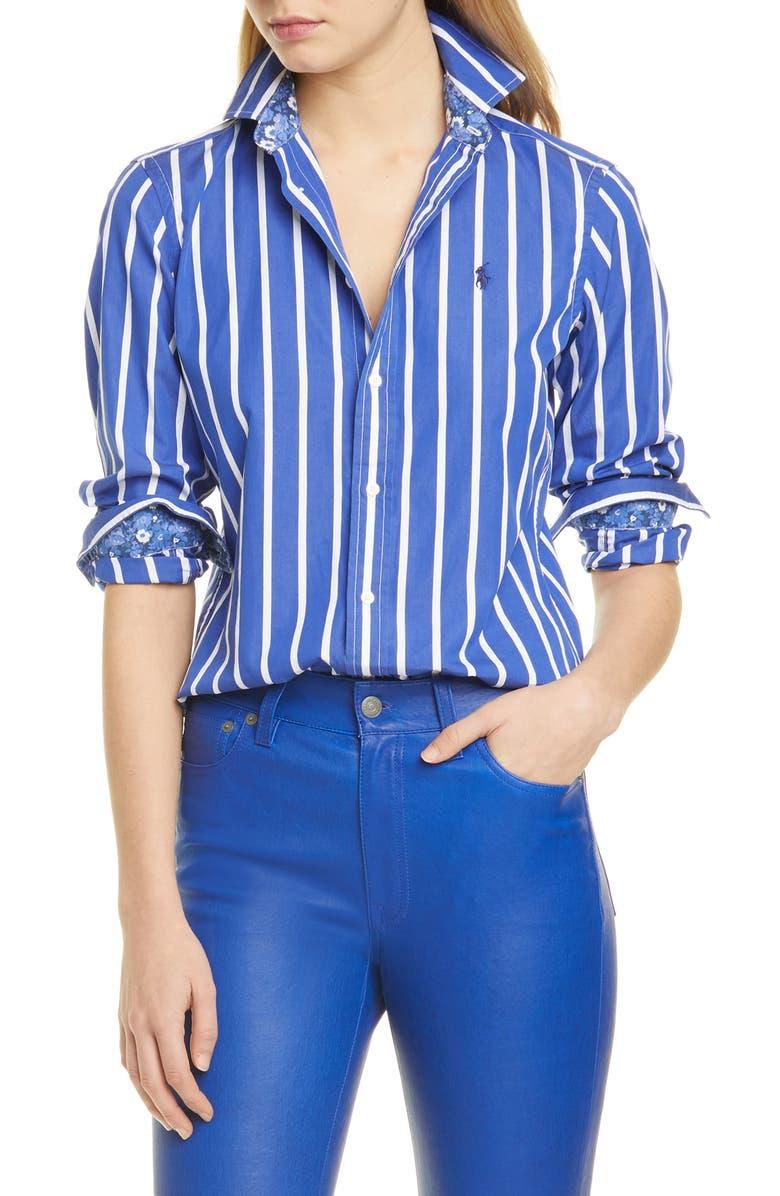 POLO RALPH LAUREN Georgia Stripe Cotton Button-Up Shirt, Main, color, 400