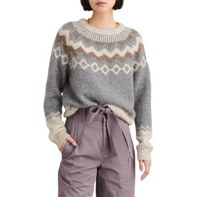 Alex Mill Fair Isle Wool Blend Sweater, Grey