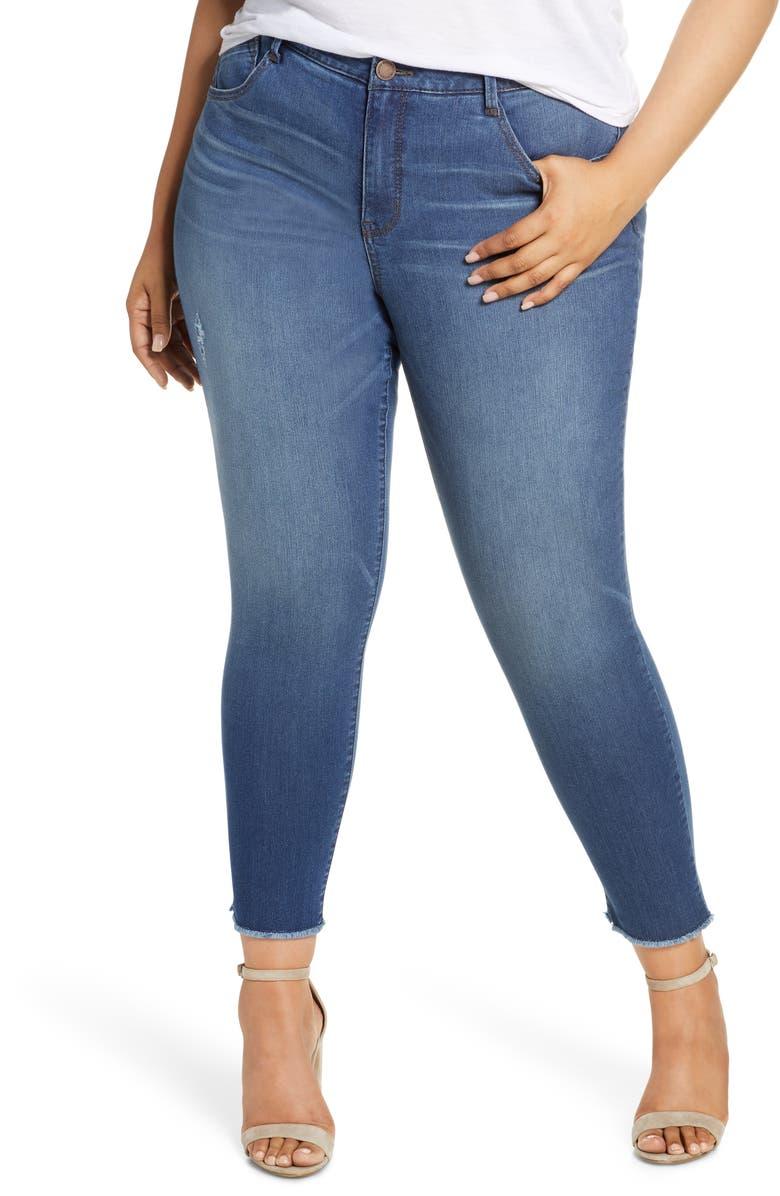 WIT & WISDOM Ab-solution Fray Hem Ankle Skinny Jeans, Main, color, BLUE