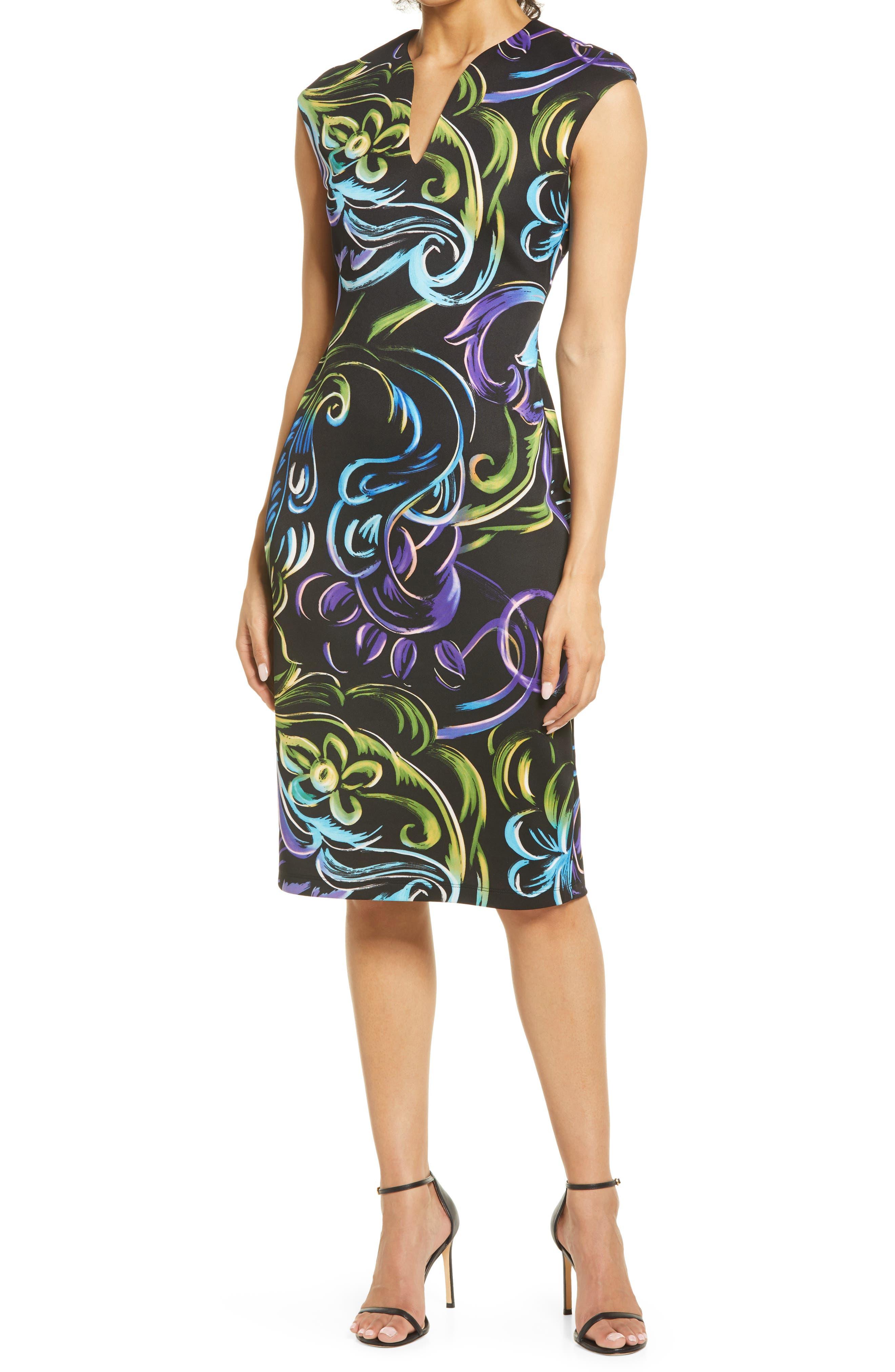Swirl Print V-Neck Sheath Dress