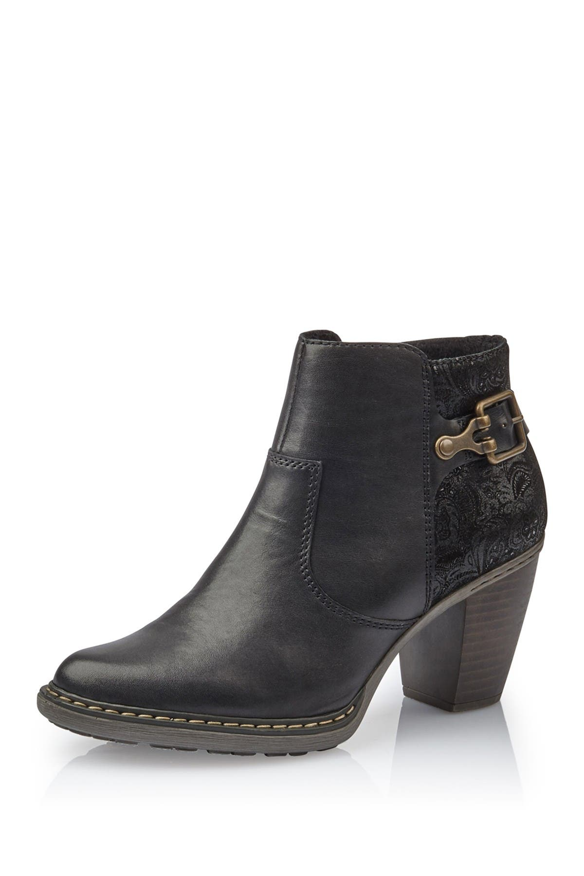 Image of Rieker Paige Leather Block Heel Boot