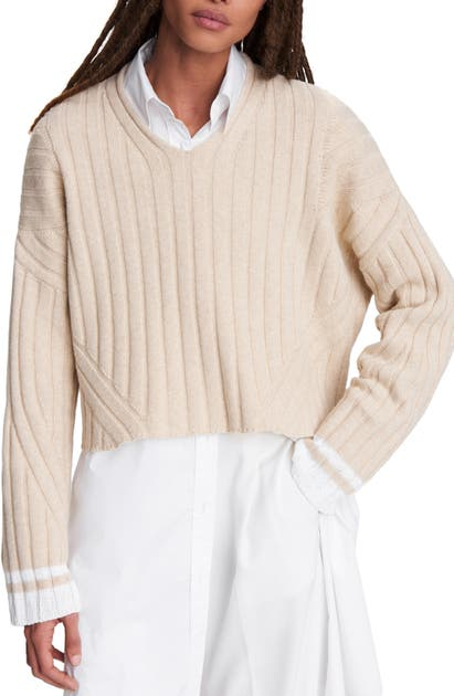Rag & Bone SERENA MERINO WOOL BLEND V-NECK SWEATER
