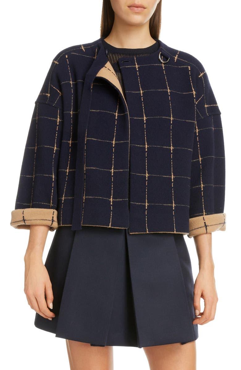 CHLOÉ Windowpane Check Merino Wool & Cashmere Coat, Main, color, BLUE - BROWN