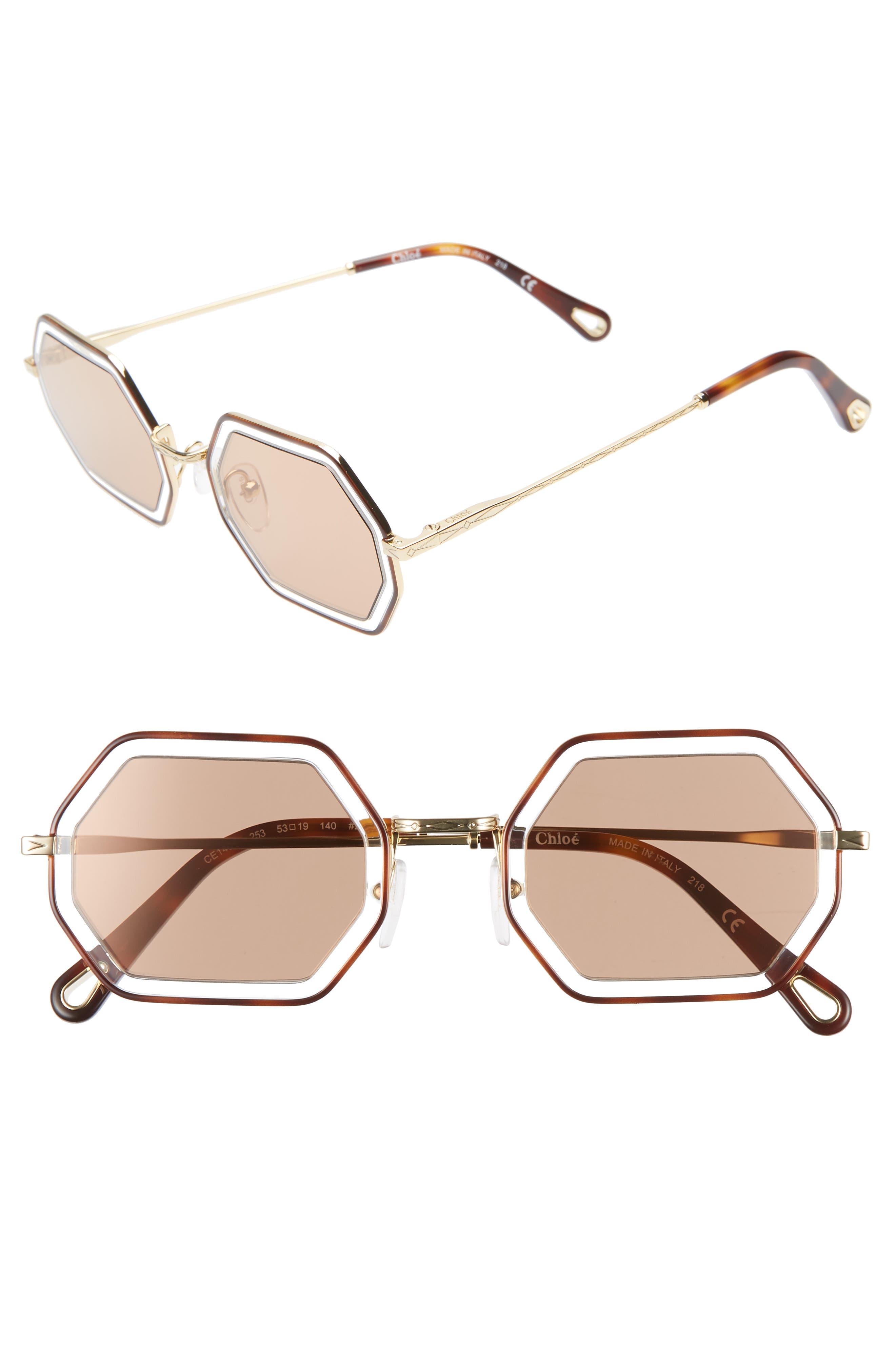 Chloe Tally 5m Octagon Sunglasses - Havana/ Crystal/ Brown Mirror
