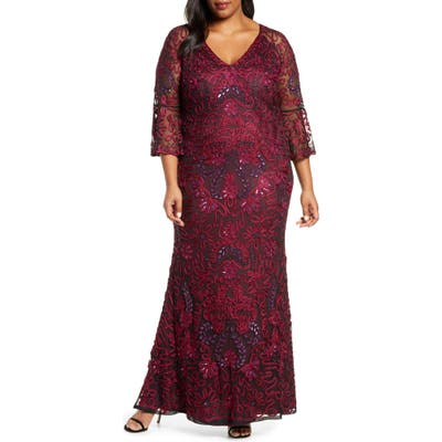 Plus Size Js Collections Bell Sleeve Bead & Soutache Gown, Red