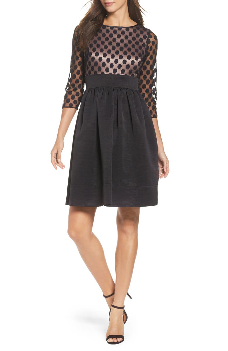 ELIZA J Dot Mesh Bodice Fit & Flare Dress, Main, color, 001