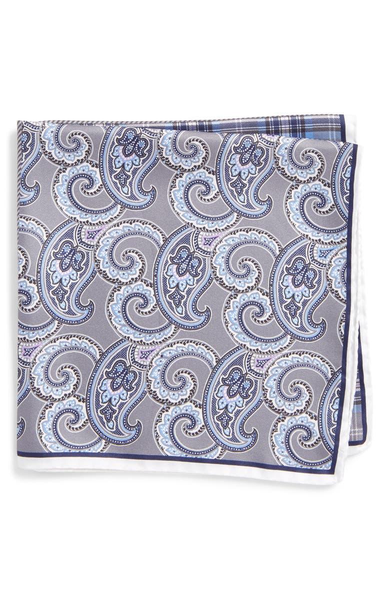 NORDSTROM MEN'S SHOP Four Panel Silk Pocket Square, Main, color, 020
