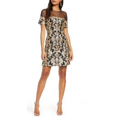 Tadashi Shoji Sheer Yoke Sequin Cocktail Dress, Black