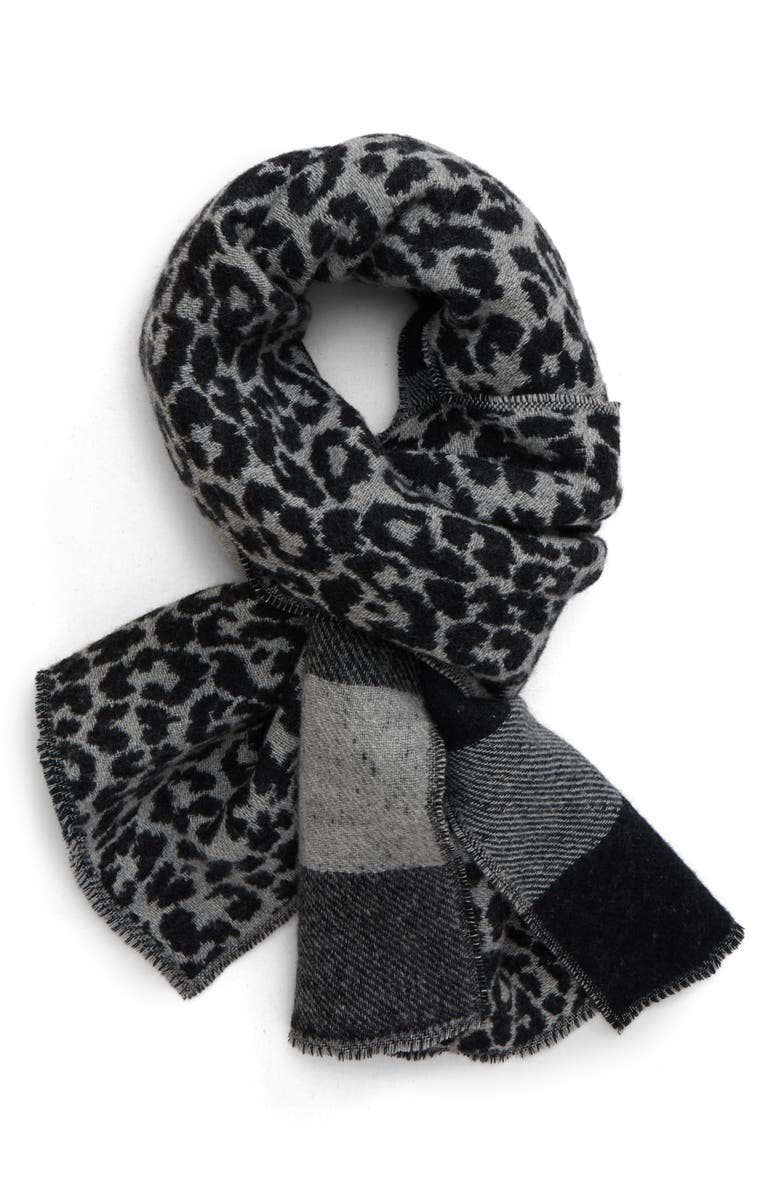 ALLSAINTS Prowl Reversible Wool Blend Scarf, Main, color, BLACK