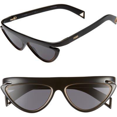 Fendi 55Mm Flat Top Sunglasses - Black/ Grey Blue