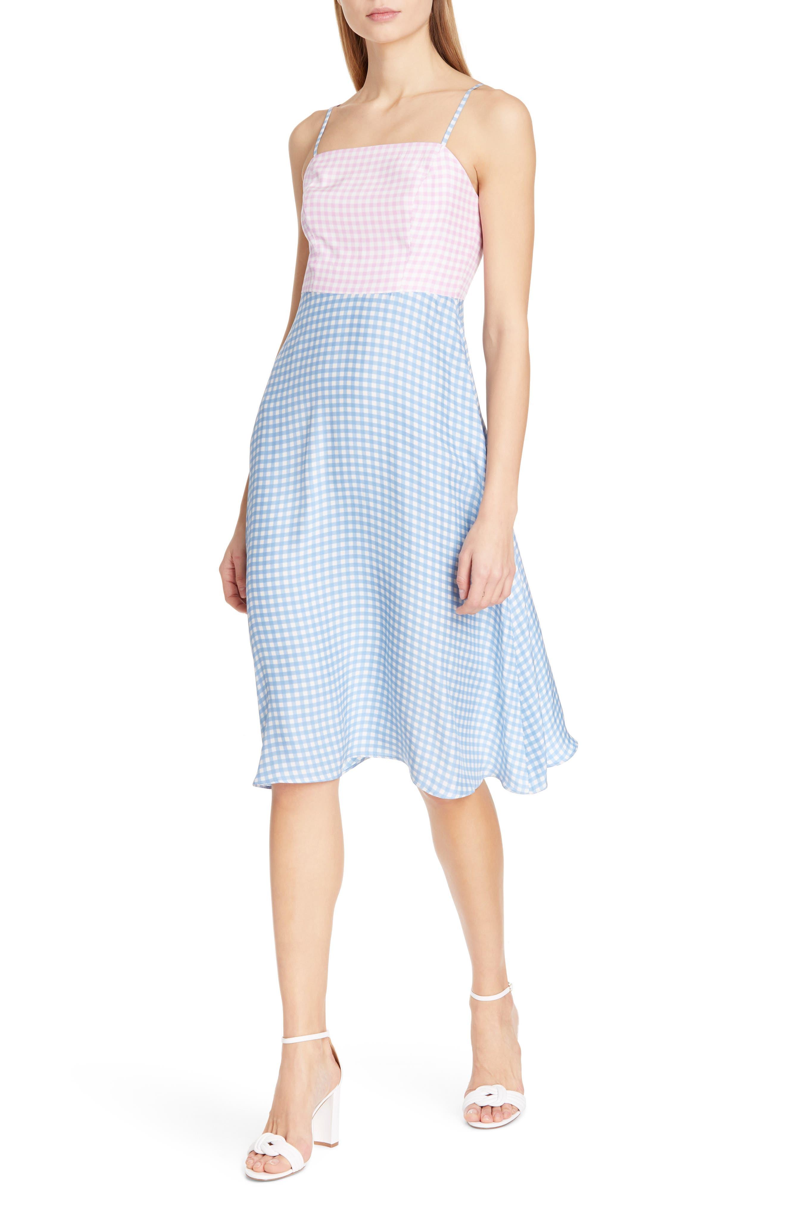 Hvn Nora Bias Cut Silk Dress, Blue