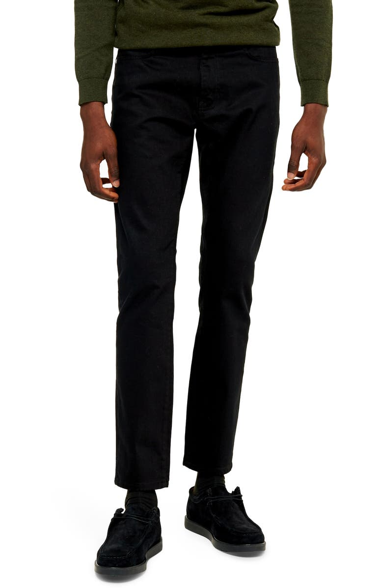 TOPMAN Newstar Slim Fit Jeans, Main, color, BLACK