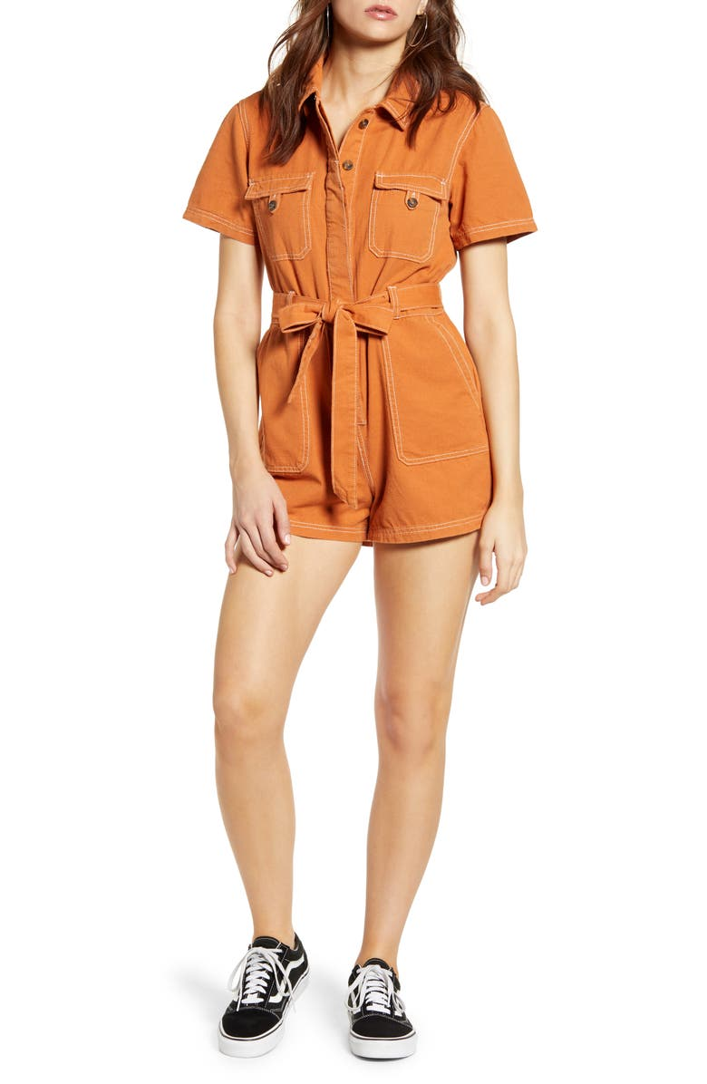 BDG Urban Outfitters Stevie Belted Cotton Romper, Main, color, ORANGE