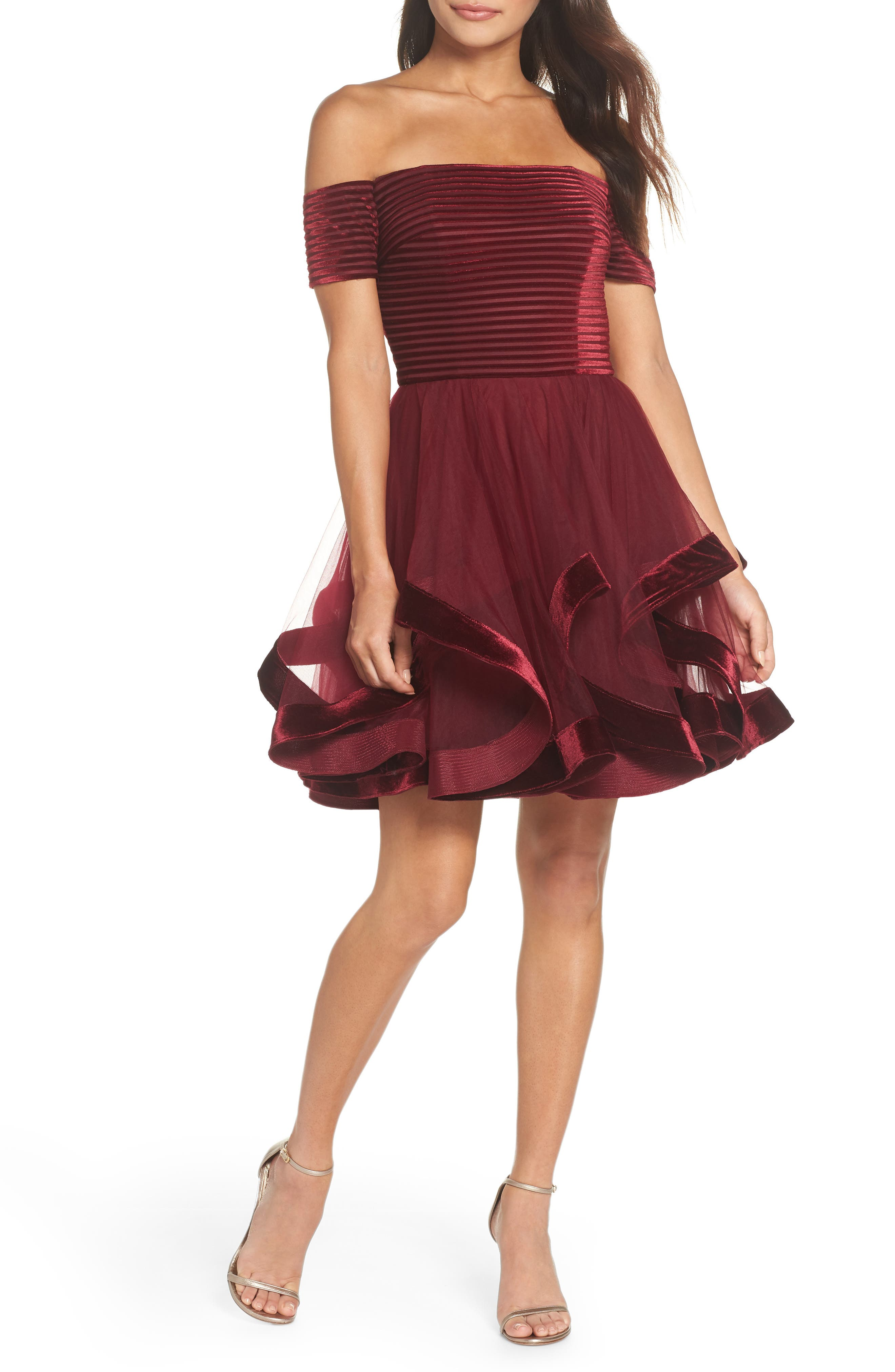 La Femme Off The Shoulder Velvet & Tulle Party Dress, Pink