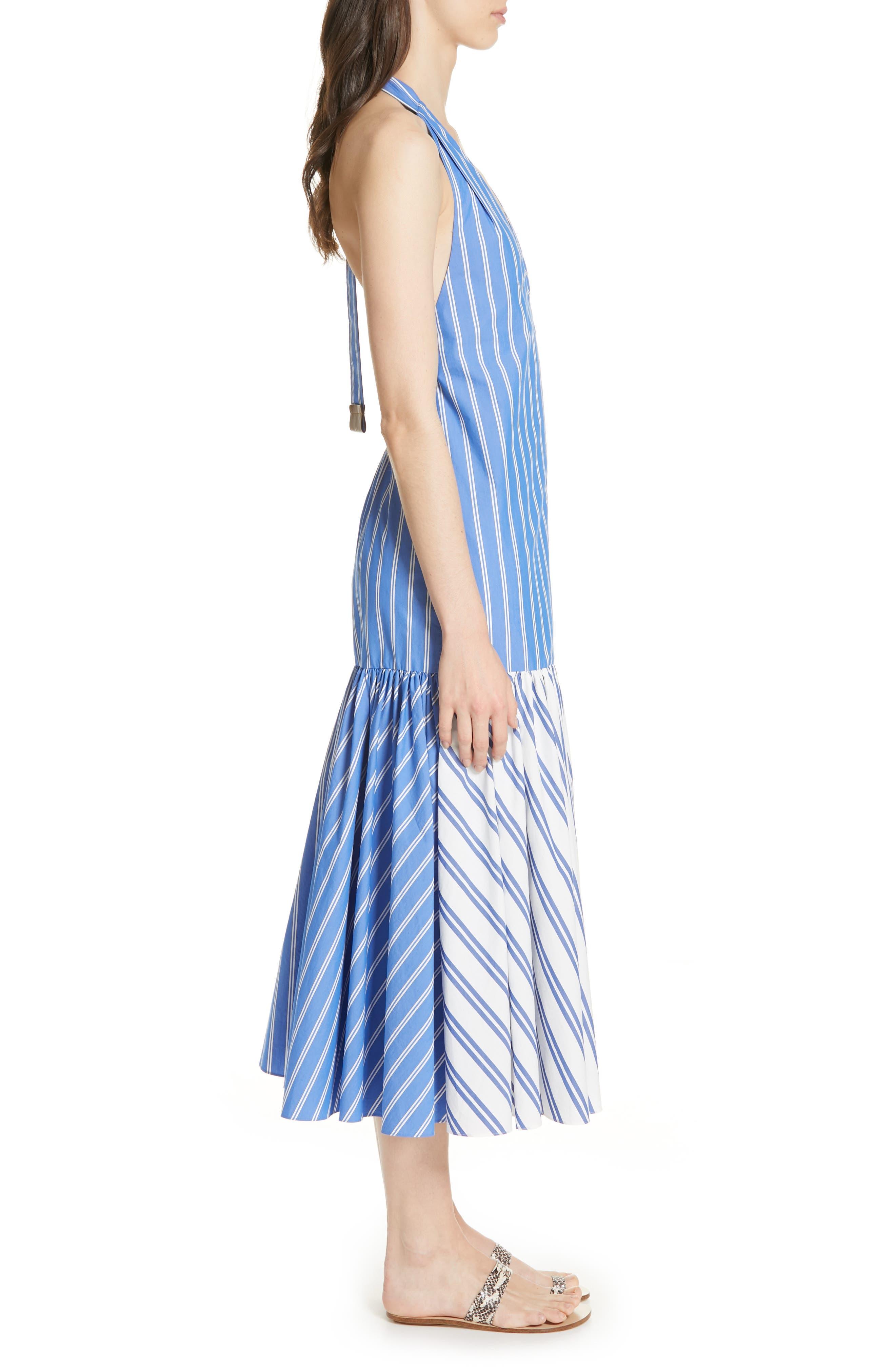 ,                             Vivian Stripe Halter Midi Dress,                             Alternate thumbnail 3, color,                             BLUE/ WHITE STRIPE MULTI